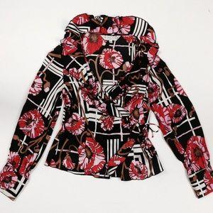 Trina Turk floral wrap blouse